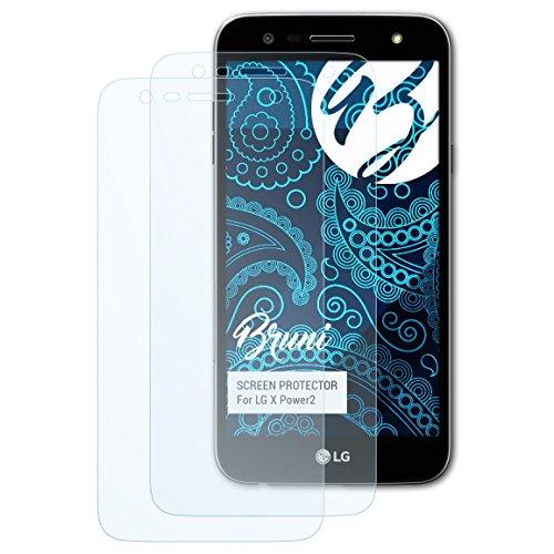 Bruni Schutzfolie für LG X Power2 Folie, glasklare Displayschutzfolie (2X)