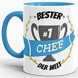 Tassendruck Kaffee-Tasse Bester Chef Innen & Henkel Hellblau/Lustig/Fun/Mug/Cup/Geschenk/Beste Qualität - 25 Jahre Erfahrung