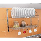 Aditi Fashion Stainless Steel Wall Mounted 2 Tier Multipurpose Kitchen Dish Drainer Rack Crockery Cup Cutlery Plate Holder Gl