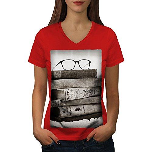 wellcoda Alt Sammlung Bücher Frau V-Ausschnitt T-Shirt Retro Grafikdesign-T-Stück