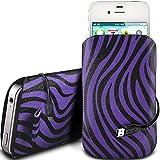 N4U Online - Nokia Lumia 920 PU Leder Schutz Zebra-Entwurf Zuglasche Cord Schlupf in Hülle Tasche mit Schnellspanner & USB Daten-Ladekabel - Lila