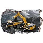 Chicbanners Cat Caterpillar JCB Excavator Digger V2 3D Magic Window Wall Sticker Self Adhesive Poster Wall Art Size 1000mm wide x 600mm deep (large)