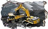 Chicbanners Cat Caterpillar JCB Bagger Bagger V2Selbstklebend 3D Magic Wandtattoo Fenster Poster Wall Art Größe 1000mm Breit x 600mm Tief (groß)