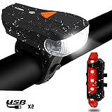 Lampe Vélo LED Lumières Vélo VTT, Keyye Eclairage Avant Phare Avant et Arrière avec USB Rechargeable Super Lumineux Puissant 5 Modes d'Eclairage Impermeable pour Vélo VTT VTC Vélos de Montagne Sport Camping