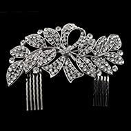 Sunshinesmile Crystal Leaf Bowknot Bridal Hair Combs Tiara Wedding Hair Jewelry by Sunshinesmile