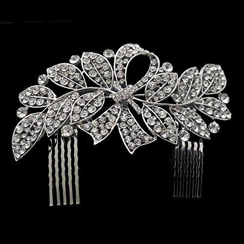 Sunshinesmile Crystal Leaf Bowknot Bridal Hair Combs Tiara Wedding Hair Jewelry by Sunshinesmile