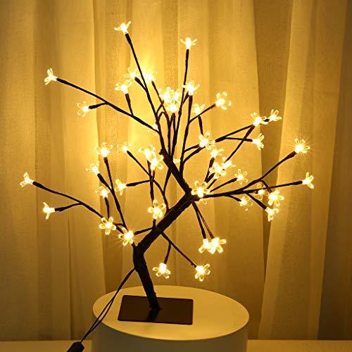 FUNRE luces de árbol de cerezo led 50 cm con 48 luces de hadas de luz led luz de árbol de cerezo iluminada mesa lámpara de árbol led decoración del hogar plantas artificiales luz