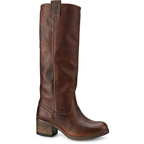 Cox Damen Damen Gaucho Stiefel, Braune Leder Boots mit Extra Weitem Schaft und Anziehschlaufen Braun Leder 39 (Braune Booties)