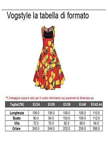 Vogstyle Donne Nuovo Senza Maniche Stampa Limone Vestito Linea Ad A Casual Cocktail Vestito Rosso