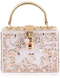 Suaveness White Color Floral Square Sling Bag For Women