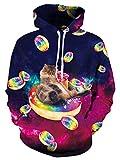 Leapparel Hip Hop Sweatshirt Hoodie für Herren Jungen 3D Donuts Katze Grafik All-over Print Pullover mit Tunnelzug und Große Kängurutasche und Fleece-Innenfutter