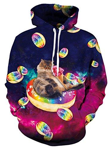 (Goodstoworld Bunt 3D Wolf Hoodie Jungens Unisex Bunt Cat Druck Hoodie Pullover Sweatshirt Langarm Fleece Kapuzenjacke Kostüm Top)
