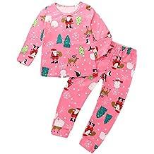 GZQ Pijama para niñas, Ropa para Dormir de la Navidad, Ropa Invierno Camisas y