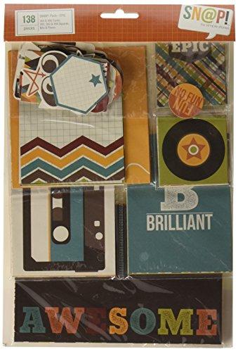 Unbekannt Simple Stories Papier Snap Doppelseitige Karten und Bits/Stücke, Stanzformen Pack 138pcs-epic - Snap-karte