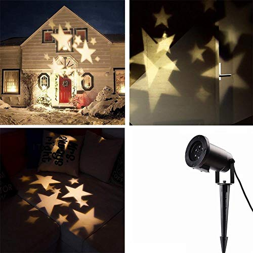 Locisne LED Moving Snowflake / Stars Spotlight Flood Lights Indoor / Outdoor Paysage Projecteur Party Lamp Holiday Christmas Tree Garden Patio Stade Maison Décoration IP44 (étoiles warm white)