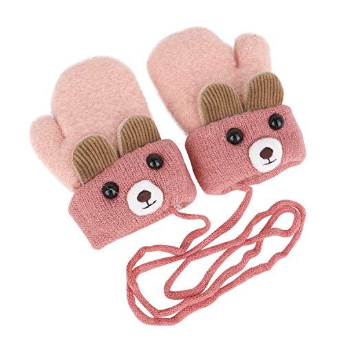 Kinder Winter Handschuhe Fäustlinge Baby Cartoon Fausthandschuh Halshandschuhe Dicke Doppelt Strickhandschuh mit Plüsch,1-5 Jahre alt, Spielen, Laufen, Skifahren Bedarf