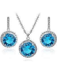 a5633625dd08 Redondo Azul Aguamarina simulada Cristales austríacos de Zirconia Juego de  joyas Collar con colgante 45 cm Pendientes 18k Chapado en…