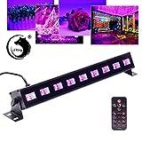 U`King UV Beleuchtung Schwarzlicht 9LEDs x 3Watt UV LED Bar Bühnenbeleuchtung mit Fernbedienung für Party Bar Karneval Halloween und Weihnachten