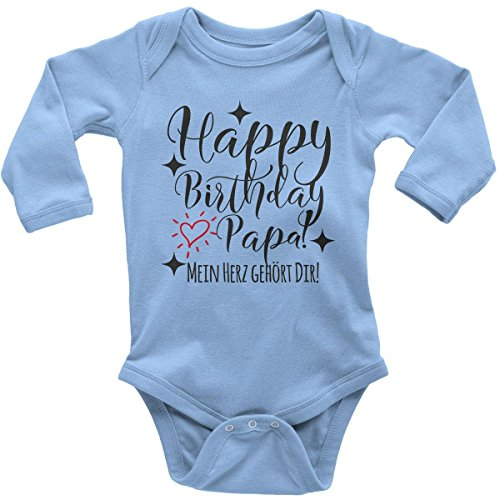 Mikalino Babybody mit Spruch für Jungen Mädchen Unisex Langarm Happy Birthday Papa! Mein Herz gehört Dir! | handbedruckt in Deutschland | Handmade with Love, Farbe:Sky, Grösse:68