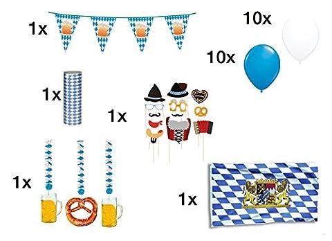 Oktoberfest Deko - Dekoration Set - über 20 Teile - Bayrische Deko Bayern Tischdeko Bayernraute - Girlande, Luftballons, Hänge Deko, Fotorequisitten, Fahne, Wimpel, Luftschlangen in blau / weiss - 2017 von TK-Gruppe