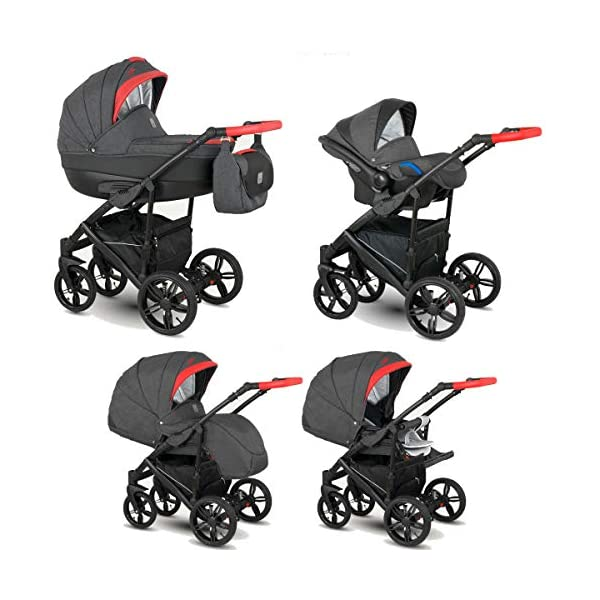 Lux4Kids Stroller Pram 2in1 3in1 Isofix Car seat 12 Colours Free Accessories Leo Black Anthracite BA-7 3in1 with Baby seat Lux4Kids Lux4Kids Leo 3in1 or 2in1 pushchair. You have the choice whether you need a car seat (baby seat certified according to ECE R 44/04 or not). Of course the car is robust, safe and durable Certificate EN 1888:2004, you can also choose our Zoe with Isofix. The baby bath has not only ventilation windows for the summer but also a weather footmuff and a lockable rocker function. The push handle adapts to your size and not vice versa, the entire frame is made of a special aluminium alloy with a patented folding mechanism. 1
