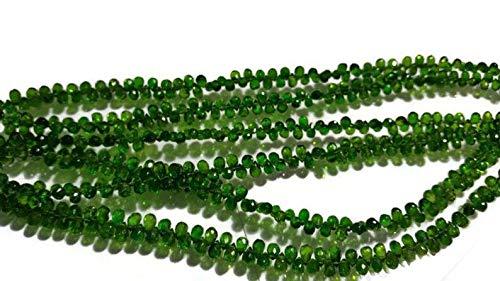 AAA Natur 1 Strang 4x6-5x7mm Chrome Diopside facettierte Tropfen Perlen | Chrome Diopside Tear Drops Perlen | 7