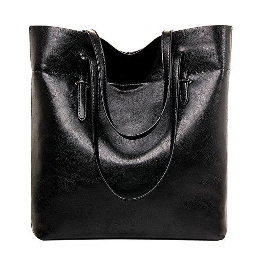 Mefly Borse donna grande capacità singola Pelle spalla vera pelle borsa denaro verticale Nero black