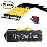 Lanyifang 10pcs Universal Winter Auto-Reifen Anti-Rutsch-Schneeketten Rutschfeste Schneeketten Riemen mit Handschuhen für die Meisten Reifen Schwarz Gelb