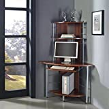 (PC DESK BROWN) Home Office Essential New Compact Corner Computer Laptop Mac Desk with 3 Shelves