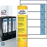 Avery Zweckform L4761J17-20 Ordnerrücken Etiketten (A4, 80 Rückenschilder, breit/kurz, selbstklebend, blickdicht, 61 x 192 mm) 20 Blatt weiß, blau