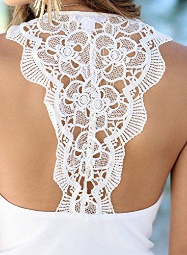 Azbro Women's Sleeveless Lace Panel Solid Mini Chiffon Dress Black
