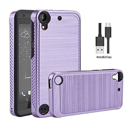 Wtiaw HTC Desire 530 Hülle,HTC Desire 555 Hülle,HTC Desire 630 Hülle Mit Micro USB 2.0 Kabel, [TPU + PC Material][Gebürstetes Metall Textur] Hybrid Dual Layer Defender Tasche für HTC D530U-LS Lila