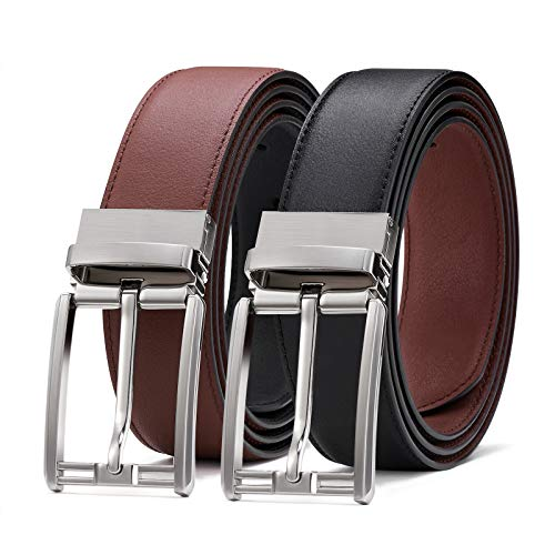 BESTKEE Cinturón Hombre Cuero Reversible Negro y Marrón con Hebilla Pulida Giratoria (#3, 130cm(cintura 42-44'))