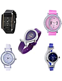 Aaradhya Fashion Wellery Bracelet Style Combo Of 5 Analogue Multicolor Dial Womens Watches