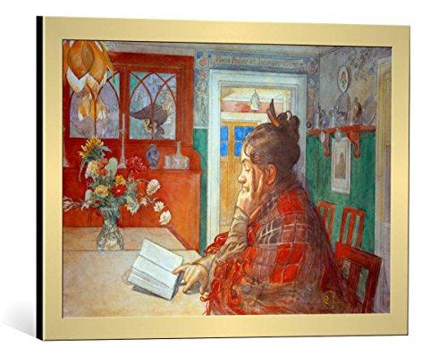 kunst für alle Bild mit Bilder-Rahmen: Carl Larsson Karin liest - dekorativer Kunstdruck, hochwertig gerahmt, 65x45 cm, Gold gebürstet -