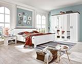 lifestyle4living Schlafzimmer, Schlafzimmermöbel, Komplettset, Bett, Schrank, Kleiderschrank, Drehtürenschrank, 2 Nachtschränke, 180 x 200 cm, weiß, Schlammeiche