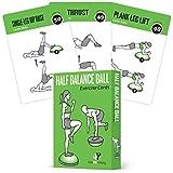 Halbbalance-Ball-Gymnastikkarten 6er Set :: für EIN Zuhause oder Fitness-Workout :: Große Flash-Karten mit 50 Stabilitätsübungen für alle Fitness-Level, auch Anfänger:: langlebig & wasserdicht