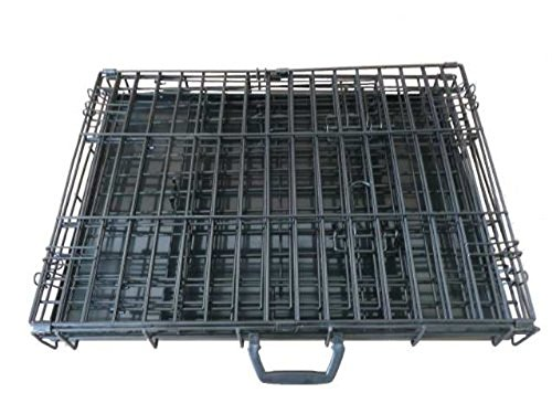 Ellie-Bo Dog Puppy Cage Large 36 inch Black Folding 2 Door Crate with Non-Chew Metal Tray