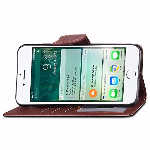 UKDANDANWEI Apple iPhone 7 Plus Hülle,Natürlichen Blatt Magnetverschluss-PU-lederne Mappe [Standby-Funktion] Flip Folio Schützt die Haut Und Lanyard Hülle, Credit Card Steckplatz Schutzhülle für Apple Schwarz