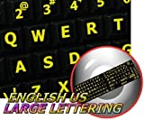 ENGLISH US YELLOW LARGE LETTERING KEYBOARD STICKER (UPPER CASE) ON BLACK BACKGROUND FOR DESKTOP, LAPTOP AND NOTEBOOK