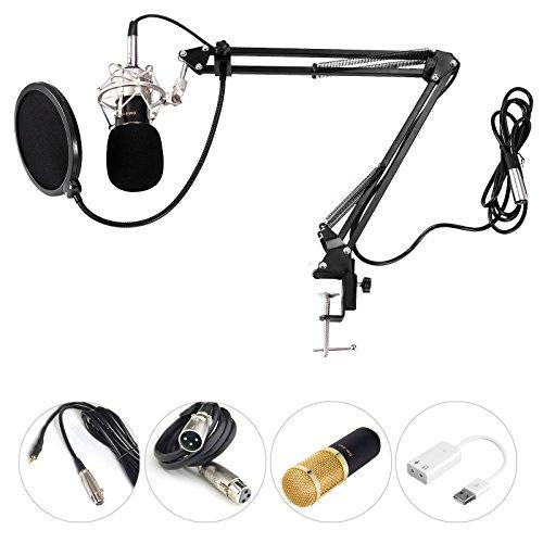 Voilamart MC-05 Kondensator Mikrofon Set Professional Home Studio Mikrofon Kit mit Ständer Popschutz geeignet für Studio Rundfunk Aufnahmen Home Laptop Computer (Schaum-notebook-kits)