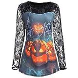 VEMOW Heißer Elegante Damen Frauen Halloween Kürbis Design T-Shirt Casual Täglichen Party Cosplay Bluse Spitze Einfügen Shirt Top(Schwarz 2, EU-38/CN-M)