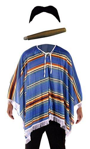 Kostüm Mexikanischer Bandit - für Herren - Poncho, Schnurrbart & Zigarre