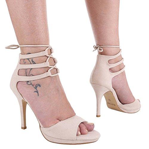 Damen Schuhe, DF21, SANDALETTEN HIGH HEELS PUMPS MIT SCHNÜRUNG Beige