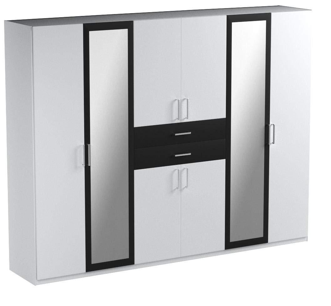 lifestyle4living Kleiderschrank mit Spiegel, Weiß, Graphit-Grau, 270 cm | Drehtürenschrank 8 türig mit 2 Schubladen im klassischen Stil 1