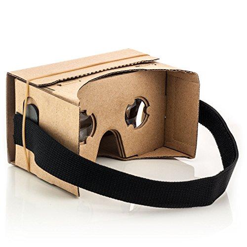 Saxonia VR Cardboard 3D Brille aus Pappkarton für Samsung Galaxy Virtual Reality Universal für Smartphones
