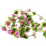 display08Home Hochzeit Party Decor Fake Blume Girlande Künstliche Rose Blossom Vine hellrosa