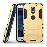 Cassiey Military Grade Armor Defender Series Dual Protection Layer Tpu + Pc Back Case For Motorola Moto E3 Power 5.0 Inches - Mobile Gold