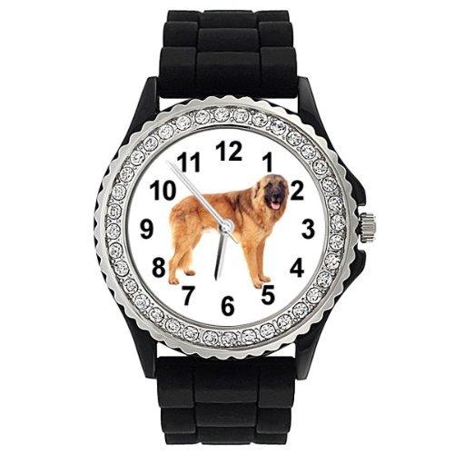 chien-de-la-serra-da-estrela-strass-montre-femme-bracelet-silicone-noir