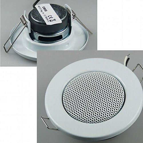 NON - Altavoz empotrable para techo (aspecto de foco halógeno, tamaño mini, 8 cm de diámetro, 6 cm de diámetro para instalación), color blanco
